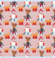 christmas characters new year pattern with vector image vector image