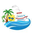 cruise ship on wave and sun vector image