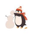 cute bapenguin making snowman holding snow vector image