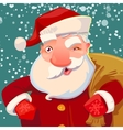 Cute Santa on snow backdrop vector image