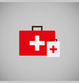 flat icon of doctor bag isolated on gray vector image