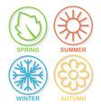 four nature seasons circles shadow vector image vector image