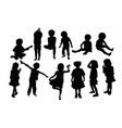 funny kid silhouettes vector image vector image