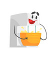 funny kitchen mixer bowl character with smiling vector image vector image