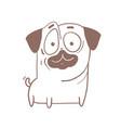 funny puppy pug dog outline cartoon vector image