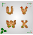 Gingerbread font u to x vector image vector image