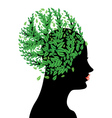 Girl head with green leaves vector image