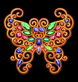 golden decoration of a butterfly on a black vector image vector image