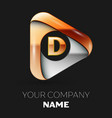 golden letter d logo in golden-silver triangle vector image vector image