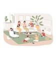 group women sit in cozy room drink tea vector image vector image
