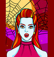 halloween vampire woman with red vector image vector image