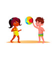 indian child girl and european boy in beach suits vector image