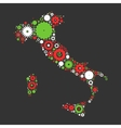 Italy map silhouette mosaic of cogs and gears vector image vector image