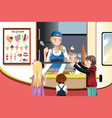 kids buying ice cream vector image