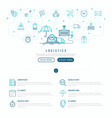 logistics web page template with thin line icons vector image