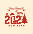 merry christmas and 2021 happy new year stamp vector image