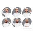 muslim arab man character set of avatars vector image vector image