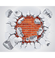 Old Plaster and Red brick wall damage vector image vector image