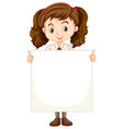 one happy girl with blank paper vector image vector image