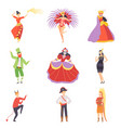 people in bright festival costumes set masquerade vector image