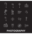 photography editable line icons set on vector image vector image