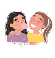 portrait smiling girls happy friends holding vector image vector image
