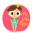 Prince little boy cartoon character on pink vector image vector image