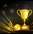 realistic trophies of winner composition vector image vector image