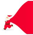 santa claus with bag running santa vector image vector image