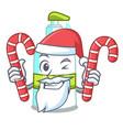 santa with candy liquid soap in cartoon shape vector image vector image