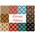Seamless floral patterns set with damask ornaments vector image