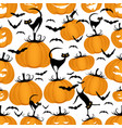 seamless pattern funny pumpkins cats and bats vector image