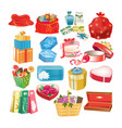 set of gift decorative boxes packages and cases vector image