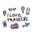 set of travel doodle symbols in vector image vector image