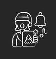 singing carols chalk white icon on black vector image