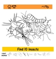 the task for children to find ten insects from vector image