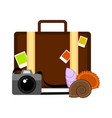 travel suitcase with a camera and seashells vector image