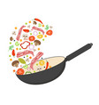 wok pan tomato paprika pepper mushroom and vector image vector image