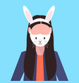 woman wearing protective mask with rabbit face vector image