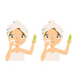 young woman applying moisturizer cream on her face vector image vector image