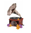 Vintage Retro gramophone and flowers vector image