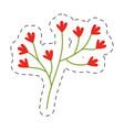 red flower ornate image cut line vector image