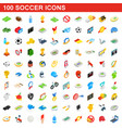 100 soccer icons set isometric 3d style vector image vector image