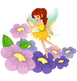 A fairy at the garden with fresh flowers vector image