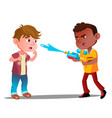 angry boy shoots water from water pistol in face vector image
