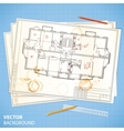 architectural papers with sketches and pencils vector image
