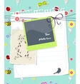 baby scrapbook card with photo frame vector image vector image
