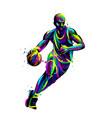basketball player with ball abstract vector image vector image