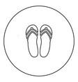 beach slippers black icon in circle outline vector image