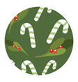 candy cane and mistletoe romantic pattern for vector image vector image